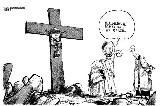 catholic+church+sex+abuse+scandal+priest+bishop+boy+on+cross+cartoon+Michael+Ramirez+los+angeles+times