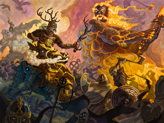 The Norse God Freyr rides upon Gullinbursti, the golden boar, into battle at Ragnarok, but behind him approaches his doom, Surt the mighty giant king of Muspelheim, the land of fire.