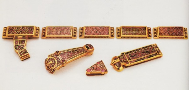 Gold+and+garnet-inlaid+mounts+from+a+sword+harness.+(Sutton+Hoo)