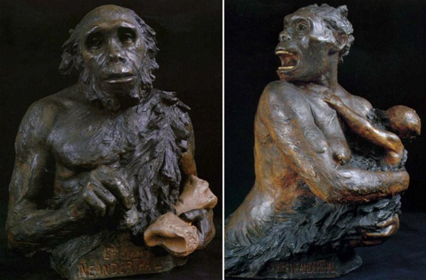 1910s-Neanderthal-Male-Female-by-Aimé-Rutot-and-Louis-Mascré