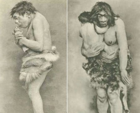 1920s-Neanderthal-Male-Female-exhibited-in-the-Field-Museum-Chicago