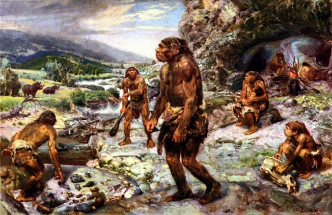 The-Neanderthal-Encampment-by-Zdenek-Burian-1960