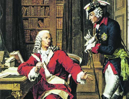 L'empereur Frédéric II le grand (1712 - 1786) rend visite au philosophe Voltaire (1694 - 1778). Gravure du 18ème siècle. © Fototeca/ Leemage [© LEEMAGE - ACHTUNG: ABRECHNUNG ERFOLGT UeBER IMAGES.DE - Veroeffentlichung nur gegen Honorar, Urhebervermerk und Belegexemplar, diese bitte an images.de senden. Potsdamer Str. 96, 10785 Berlin. Hinweis: NO MODEL-RELEASE! Bei werblicher Nutzung vorher Kontakt aufnehmen mit: images.de, Berlin. Kontakt: E-Mail sales@images.de, Telefon: +49302579289 80, Fax +4930 2579289 99. Ueberweisung des Honorars erfolgt an images.de. Deutsche Bank, BLZ 10070000, KTO 0414862; ACHTUNG images.de ist NICHT der Urheber dieses Bildes: Bildnachweis soll lauten: © Fotograf/LEEMAGE]