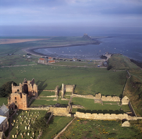 17 Aug 1997, Northumberland, England, UK --- Priory in foreground; castle in background. --- Image by © Skyscan/Corbis